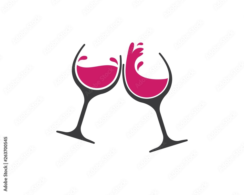 Fototapety, obrazy: wine glasses toasting logo icon vector