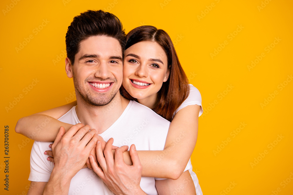 Fototapety, obrazy: Close-up portrait of his he her she two nice cute lovely charming sweet tender attractive cheerful positive people cuddling isolated over vivid shine bright yellow background