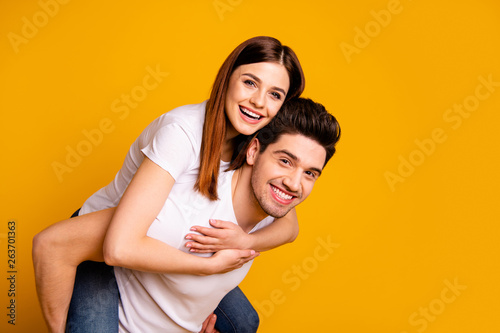 Photo  Portrait of his he her she two nice attractive lovely cheerful cheery people hav