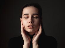 Gentle Young Woman. Close Up Portrait