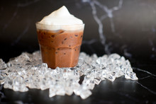 Iced Chocolate And Milk Foam In Small Glass