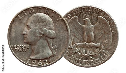 Fototapeta United States money quarter dollar coin silver, isolated on white obraz