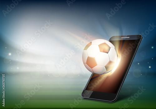 Photo Smartphone on soccer field. Ball on the football stadium