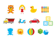 Different Toys For Kids Icon Set Vector. Toys For Boys And Girls Vector. Colorful Toys Isolated On A White Background. Children's Toys Clipart