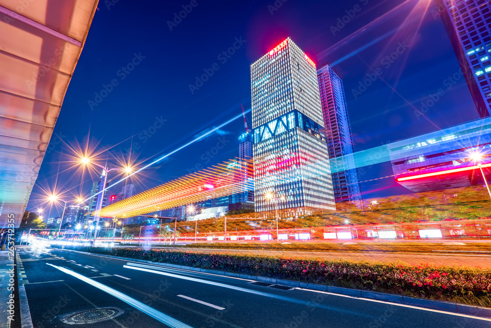 Fototapety, obrazy: Road City Nightscape Architecture and Fuzzy Car Lights..