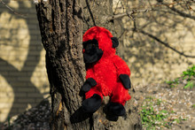 Red Plush Toy Monkey On A Tree
