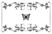 Vintage Floral Frame With Ornament And Butterflies