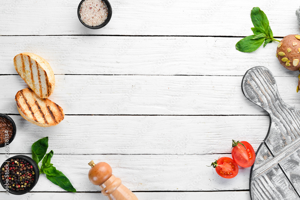 Fototapety, obrazy: Cooking background and other ingredients. Top view. Flat lay composition Free copy space.