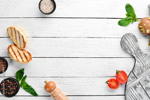 Fototapeta Cooking background and other ingredients. Top view. Flat lay composition Free copy space. obraz