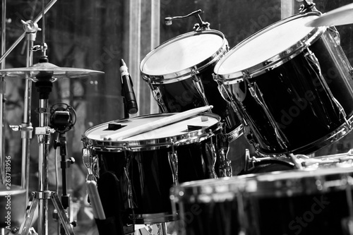 Fragment of a drum set close up in black and white - 263718956