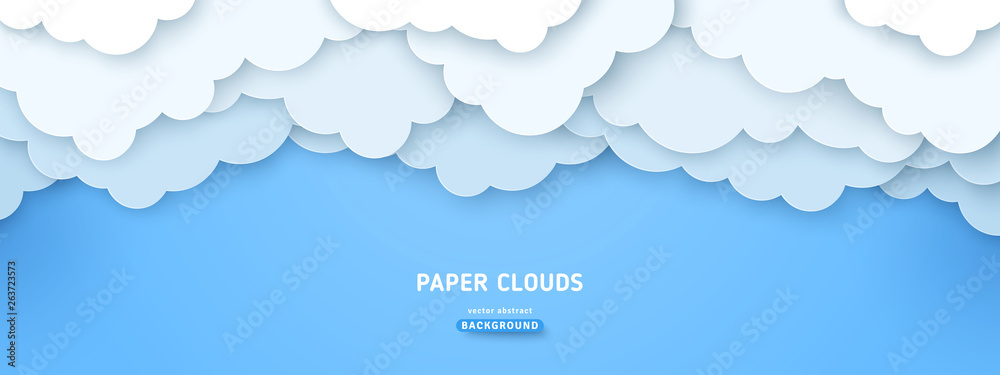 Fototapety, obrazy: Cloudy paperart illustration