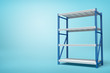 3d rendering of silver blue metal rack on blue background