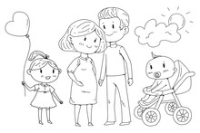 Cartoon Family With Pregnant W...