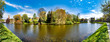 canvas print picture - Panorama of the beautiful nature along the canal in Zwolle, Netherlands