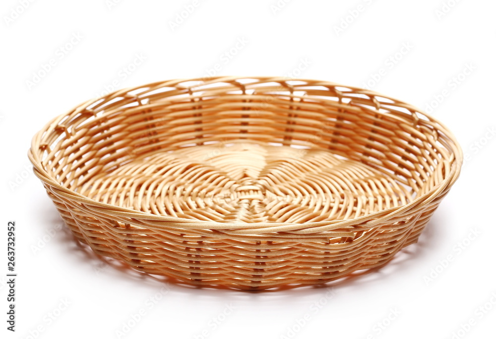 Fototapety, obrazy: Empty new wooden wicker basket isolated on white background