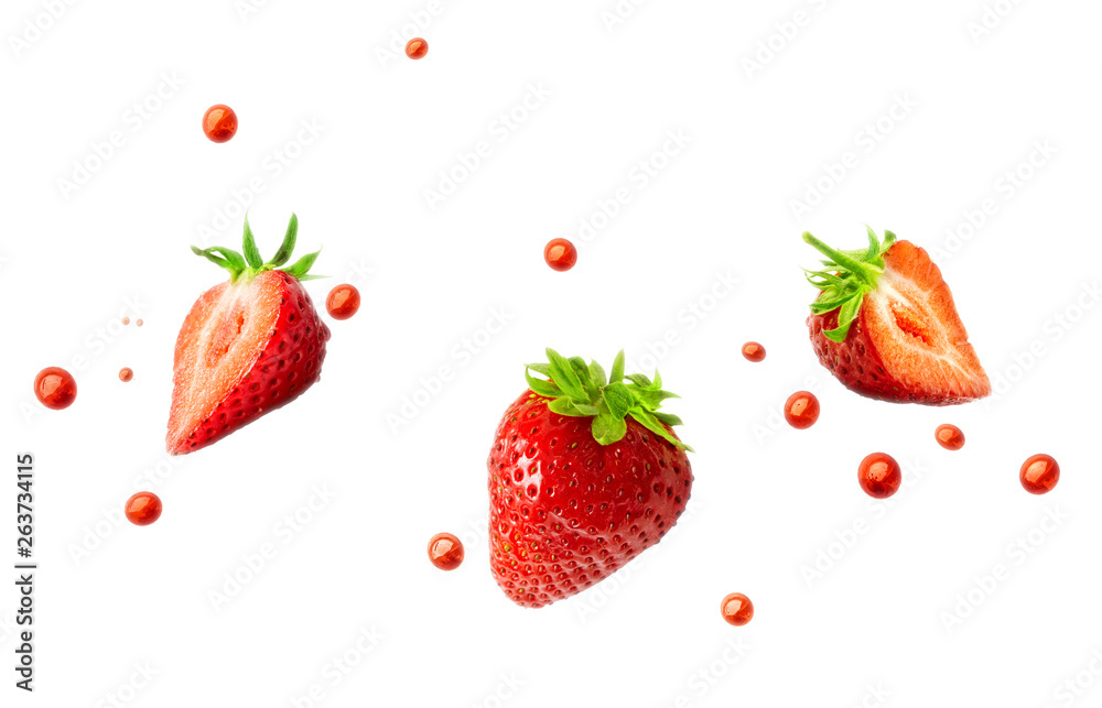 Fototapety, obrazy: Strawberries and strawberry juice droplets isolated on white background. Healthy food and balanced diet concept. Liquid template design element. 3D illustration