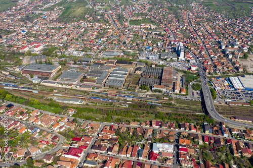 Fototapeta Aerial view of city buildings from a drone obraz na płótnie