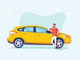 Happy successful man is standing next to a yellow car on a background. Vector illustration in cartoon style.