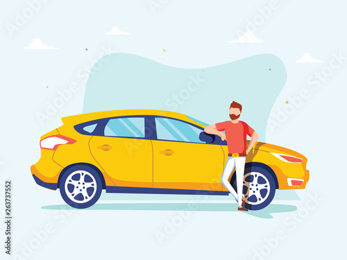 Spoed Foto op Canvas Cartoon cars Happy successful man is standing next to a yellow car on a background. Vector illustration in cartoon style.