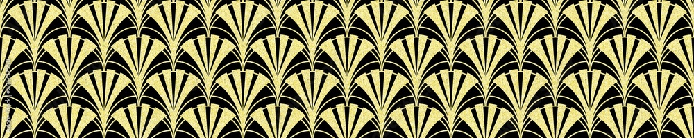 Modern geometric tiles pattern. Golden lined shape. Abstract art deco seamless luxury background.