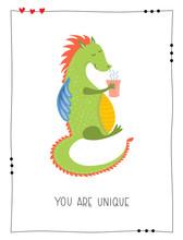 Hand Drawn Cartoon Cute Dragon With Mug Of Coffee Character - Vector