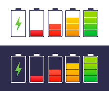 Discharged And Fully Charged Battery Smartphone. Set Of Battery Charge Level Indicators. Vector Illustration.