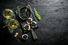 Sandwiches With Black Caviar, ...