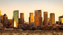 Sydney Harbour Skyline At Golden Sunset