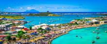 Panoramic Harbor Landscape Of Marigot, Saint Martin.