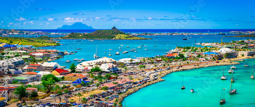 Foto  Panoramic harbor landscape of Marigot, Saint Martin.