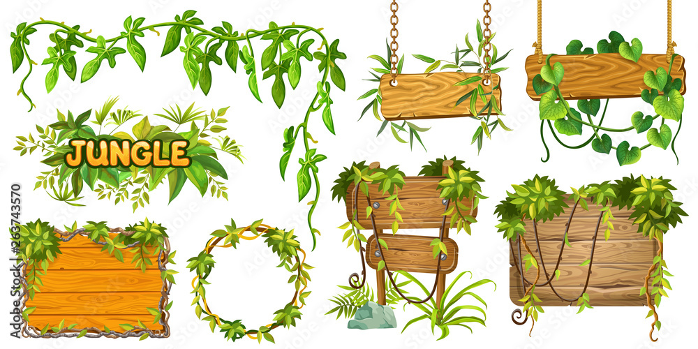 Fototapeta Set game wooden boards and branches liana and tropical leaves. Isolated gui elements plants of jungle and cartoon panels with space for text . Vector illustration on white background.