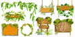 Set game wooden boards and branches liana and tropical leaves. Isolated gui elements plants of jungle and cartoon panels with space for text . Vector illustration on white background.