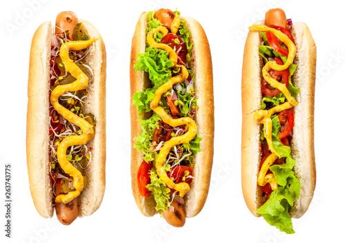 Fotografia Delicious hotdogs on white background