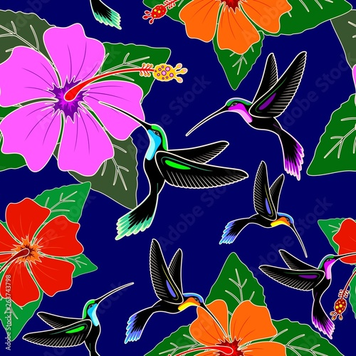 In de dag Draw Hummingbird and Hibiscus Flower Exotic Vector Seamless Pattern Design