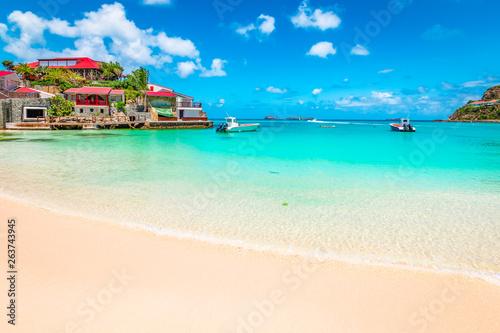 Obraz na plátně  Beach in St Barts, Caribbean Sea.