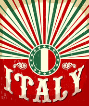 Italy Vintage Old Poster With Italian Flag Colors, Vector Design, Italy Holiday Decoration