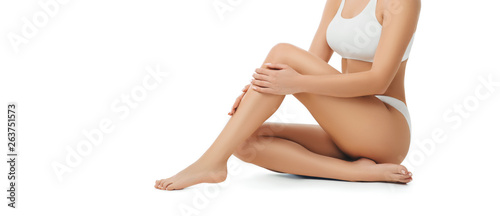 Photo slim perfect female body wearing white underwear isolated on white