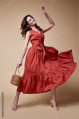Leinwand Poster Pretty beautiful sexy elegance woman skin tan body fashion model glamor pose wear trend dress casual clothes party summer collection makeup hair style brunette success accessory jewelry studio