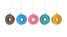 Christmas Bauble Decoration Made Of Doughnut. New Year Concept. 3d Rendering