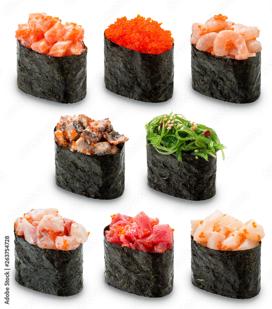 Fototapety, obrazy: Gunkan Sushi set on a white background. Isolated