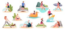 Crowd Of People Performing Summer Outdoor Activities On The Beach - Walking Dogs, Skateboarding, Surfing. Group Of Male And Female Flat Cartoon Characters Isolated On White Background