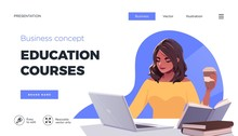 Landing Page Template For Online Courses, Distance Education, Internet Studying, Training. Education Concept, Training Young Female. Internet Student