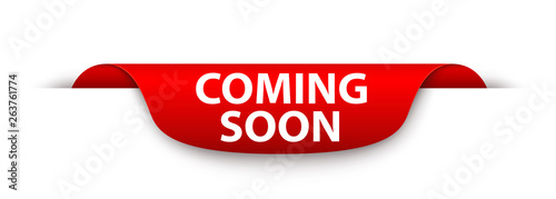 Foto  Red banner with the inscription COMING SOON