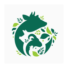 Farm Animals Logo. Vector Illustration With Cow, Pig, Goat And Chicken.  Livestock Pattern With Farm Animals And Leaves. Green Logo For Agricultural Company
