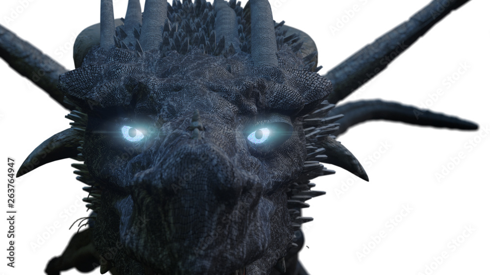 Fototapeta the dragon with blue eyes 3D render
