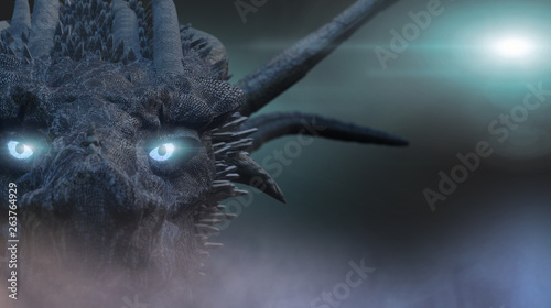Fotografie, Tablou  the dragon with blue eyes 3D render