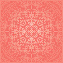 Living Coral Floral Pink Vecto...
