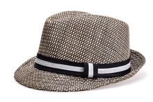 Straw Hat In A Plaid Unisex With Black And White Ribbon On A Neutral White Background