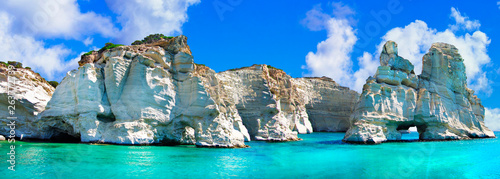 Crystal clear sea of Greek islands. Milos, boat trip in Kleftiko bay. Cyclades