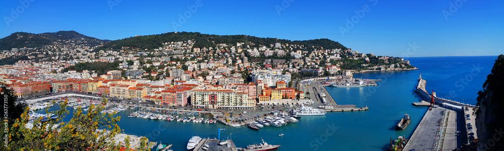 Fototapeta Panoramic view above Port of Nice on French Riviera